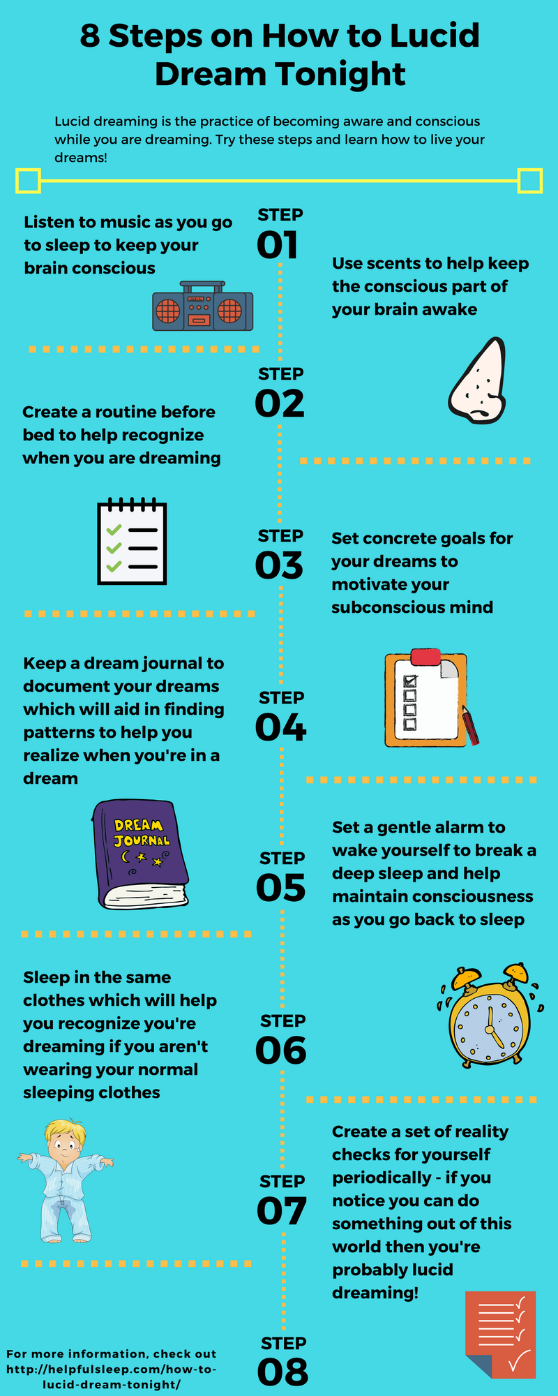 8 Steps on How to Lucid Dream Tonight Infographic